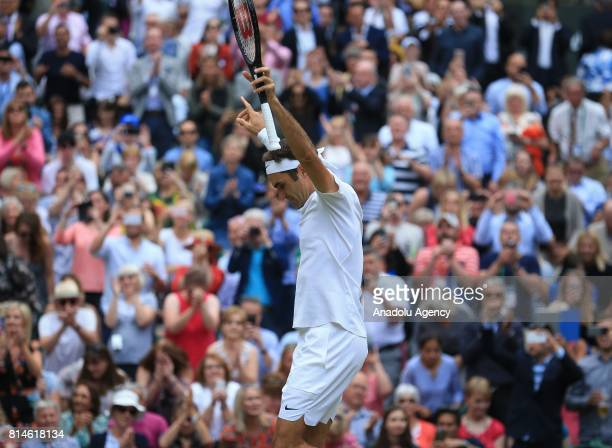 Roger Federer of Switzerland celebrates after beating Tomas Berdych of Czech Republic in the men's semifinals on day eleven of the 2017 Wimbledon...