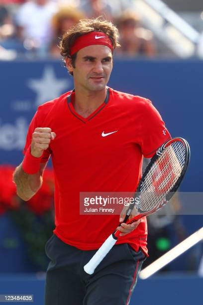 Roger Federer of Switzerland celebrates after defeating Marin Cilic of Croatia during Day Six of the 2011 US Open at the USTA Billie Jean King...