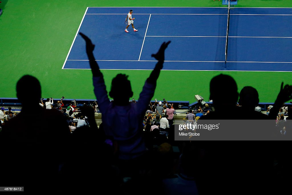 Roger Federer of Switzerland celebrates after defeating Stan Wawrinka of Switzerland during their Men's Singles Semifinals match on Day Twelve of the 2015 U.S. Open at the USTA Billie Jean King National Tennis Center on September 11, 2015 in the Flushing neighborhood of the Queens borough of New York City.