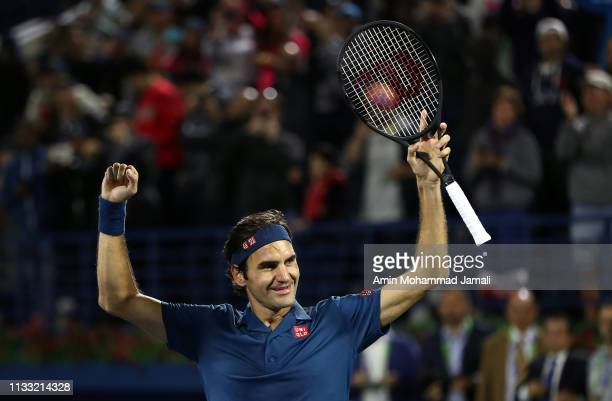 Roger Federer of Switzerland celebrates after defeating Stefanos Tsitsipas of Greece in their final during day Fourteen of the Dubai Duty Free Tennis...