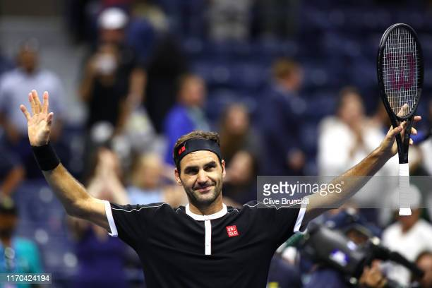 Roger Federer of Switzerland celebrates after defeating Sumit Nagal of India in their Men's Singles first round match on day one of the 2019 US Open...