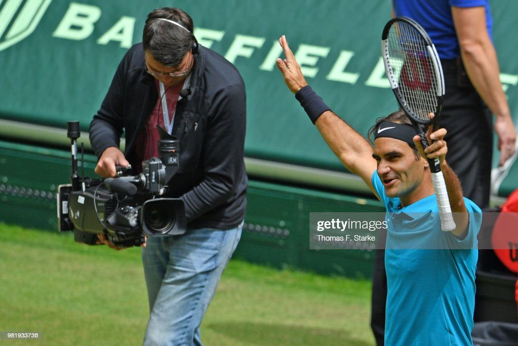 Roger Federer of Switzerland celebrates after his half final match against Denis Kudla of the United States during day six of the Gerry Weber Open at Gerry Weber Stadium on June 23, 2018 in Halle, Germany.