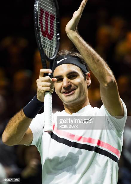 Roger Federer of Switzerland celebrates after victory against Grigor Dimitrov of Bulgaria during their men's singles final for the ABN AMRO World...