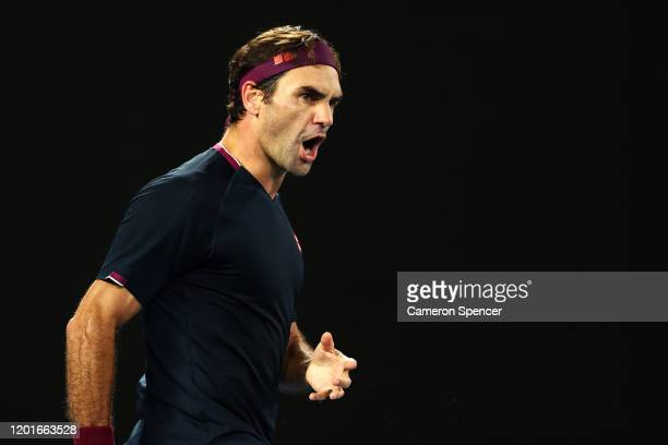 Roger Federer of Switzerland celebrates after winning a point during his Men's Singles third round match against John Millman of Australia on day...