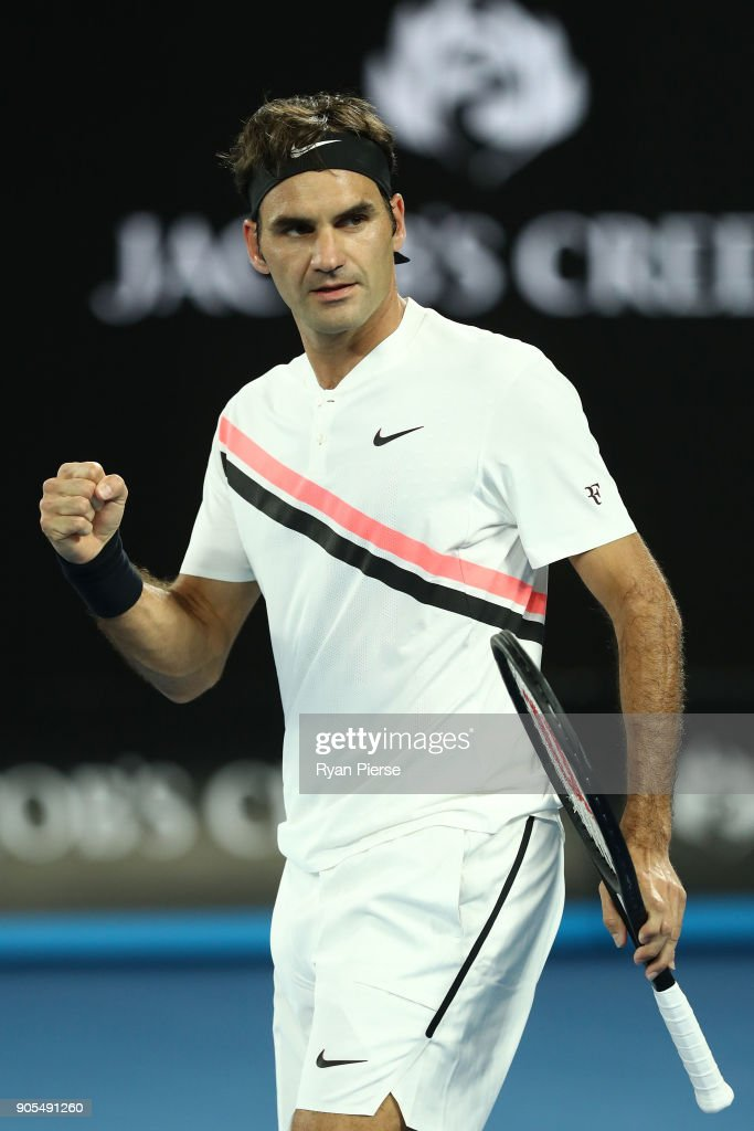Roger Federer of Switzerland celebrates after winning his first round match against Aljaz Bedene of Slovenia on day two of the 2018 Australian Open at Melbourne Park on January 16, 2018 in Melbourne, Australia.