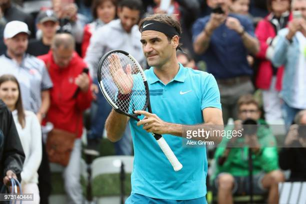 Roger Federer of Switzerland celebrates after winning his match against Mischa Zverev of Germany during day 3 of the Mercedes Cup at Tennisclub...