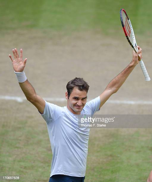 Roger Federer of Switzerland celebrates after winning the final match against Mikhail Youzhny of Russia during the final day of the Gerry Weber Open...