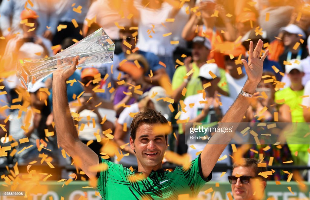 Roger Federer of Switzerland celebrates after winning the final match against Rafael Nadal of Spain (not pictured) on day 14 of the Miami Open at Crandon Park Tennis Center on April 2, 2017 in Key Biscayne, Florida.