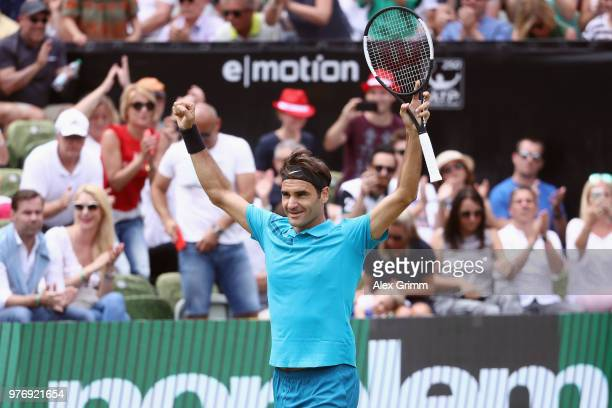 Roger Federer of Switzerland celebrates after winning the final match against Milos Raonic of Canada during day 7 of the Mercedes Cup at Tennisclub...
