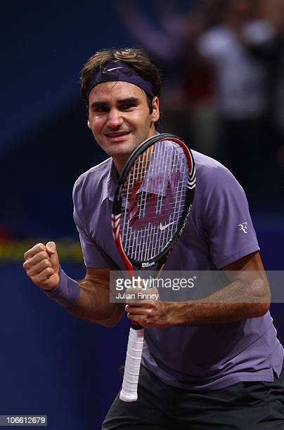 Roger Federer of Switzerland celebrates at match point after defeating Novak Djokovic of Serbia in the final during Day Seven of the Davidoff Swiss...