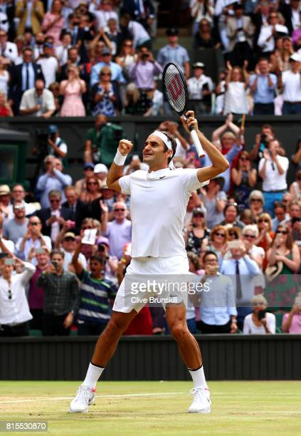 Roger Federer of Switzerland celebrates championship point and victory during the Gentlemen's Singles final against Marin Cilic of Croatia on day...