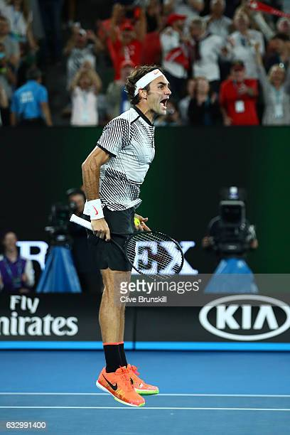 Roger Federer of Switzerland celebrates championship point in his Men's Final match against Rafael Nadal of Spain on day 14 of the 2017 Australian...