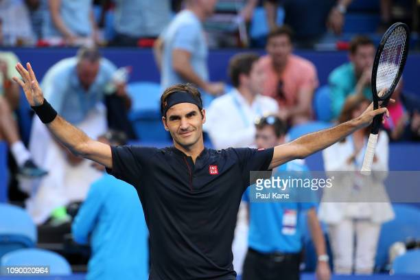 Roger Federer of Switzerland celebrates defeating Alexander Zverev of Germany during day eight of the 2019 Hopman Cup at RAC Arena on January 05 2019...