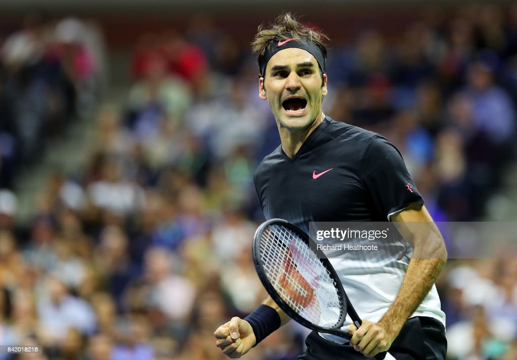 Roger Federer of Switzerland celebrates defeating Feliciano Lopez of Spain during their third round Men's Singles match on Day Six of the 2017 US Open at the USTA Billie Jean King National Tennis Center on September 2, 2017 in the Flushing neighborhood of the Queens borough of New York City.