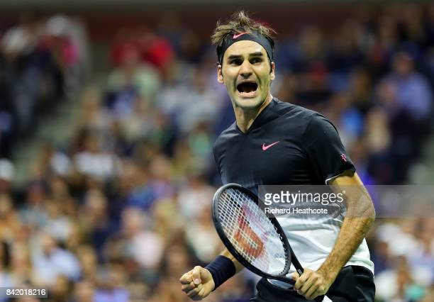 Roger Federer of Switzerland celebrates defeating Feliciano Lopez of Spain during their third round Men's Singles match on Day Six of the 2017 US...