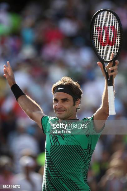 Roger Federer of Switzerland celebrates defeating Tomas Berdych of Czech Republic at Crandon Park Tennis Center on March 30, 2017 in Key Biscayne,...