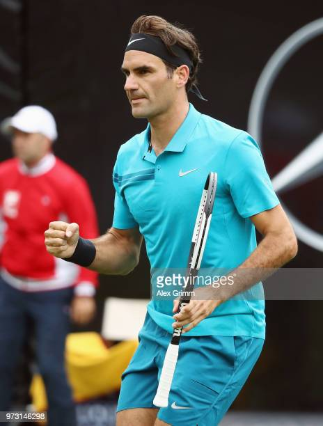 Roger Federer of Switzerland celebrates during his match against during day 3 of the Mercedes Cup at Tennisclub Weissenhof on June 13 2018 in...