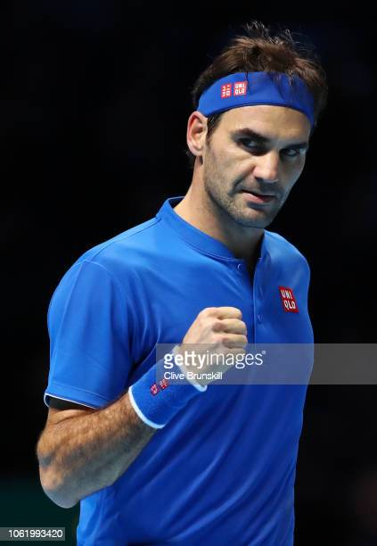 Roger Federer of Switzerland celebrates during his round robin match against Kevin Anderson of South Africa during Day Five of the Nitto ATP Finals...