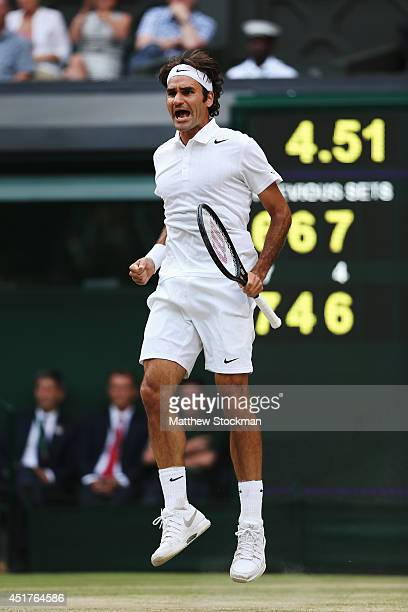Roger Federer of Switzerland celebrates during the Gentlemen's Singles Final match against Novak Djokovic of Serbia on day thirteen of the Wimbledon...