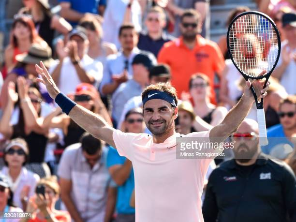 Roger Federer of Switzerland celebrates his 63 76 victory over Robin Haase of Netherlands during day nine of the Rogers Cup presented by National...