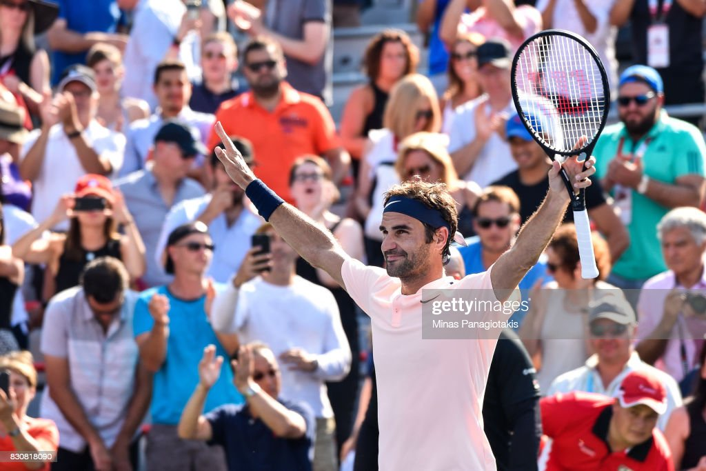 Roger Federer of Switzerland celebrates his 6-3, 7-6 victory over Robin Haase of Netherlands during day nine of the Rogers Cup presented by National Bank at Uniprix Stadium on August 12, 2017 in Montreal, Quebec, Canada.