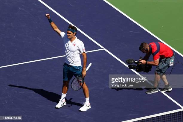 Roger Federer of Switzerland celebrates his men's singles quarterfinal match victory against Hubert Hurkacz of Poland on Day 12 of the BNP Paribas...