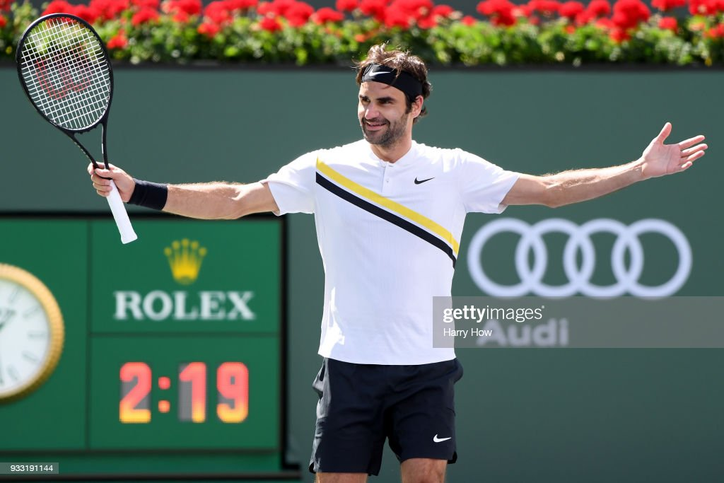 Roger Federer of Switzerland celebrates his semifinal victory over Borna Coric of Croatia during the BNP Paribas Open at the Indian Wells Tennis Garden on March 17, 2018 in Indian Wells, California.