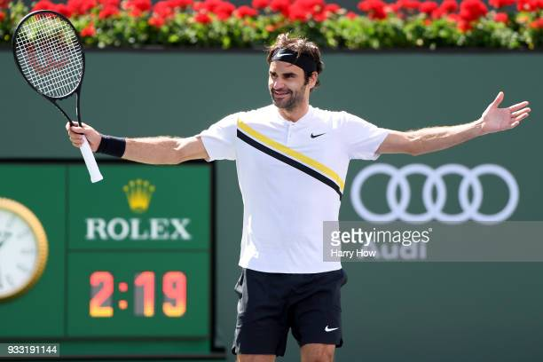 Roger Federer of Switzerland celebrates his semifinal victory over Borna Coric of Croatia during the BNP Paribas Open at the Indian Wells Tennis...