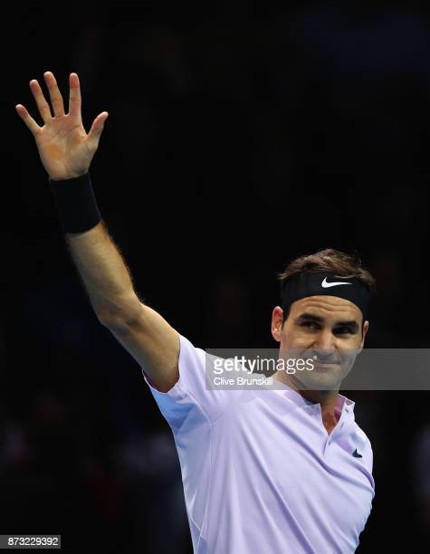 Roger Federer of Switzerland celebrates his straight sets victory against Jack Sock of the United States during the Nitto ATP World Tour Finals at O2...