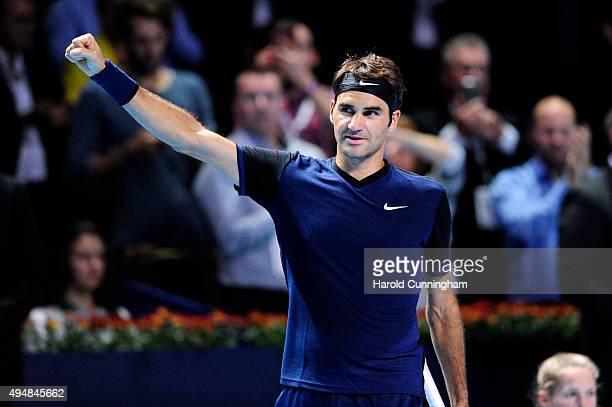 Roger Federer of Switzerland celebrates his victory after the fourth day of the Swiss Indoors ATP 500 tennis tournament against Philipp Kohlschreiber...