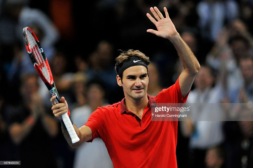 Roger Federer of Switzerland celebrates his victory after the Swiss Indoors ATP 500 tennis tournament semi-final match against Ivo Karlovic of Croatia at St Jakobshalle on October 25, 2014 in Basel, Switzerland.