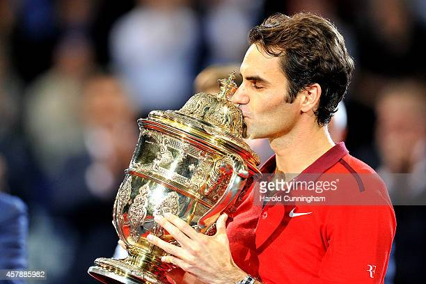 Roger Federer of Switzerland celebrates his victory after the Swiss Indoors ATP 500 tennis tournament final match against David Goffin of Belgium at...