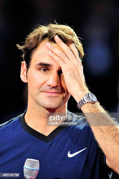 Roger Federer of Switzerland celebrates his victory after the Swiss Indoors ATP 500 Final against Rafael Nadal of Spain at St Jakobshalle on November...