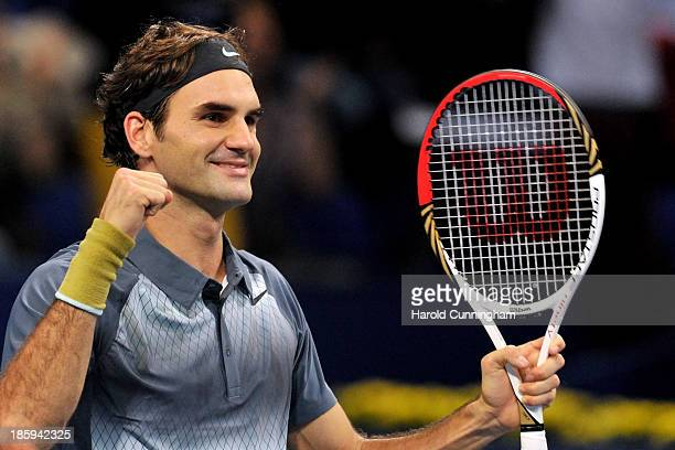 Roger Federer of Switzerland celebrates his victory during his Swiss Indoors ATP Tennis semi-final match against Vasek Pospisil of Canada at St...