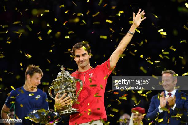 Roger Federer of Switzerland celebrates his victory during the final match of the Swiss Indoors ATP 500 tennis tournament against Alex de Minaur of...