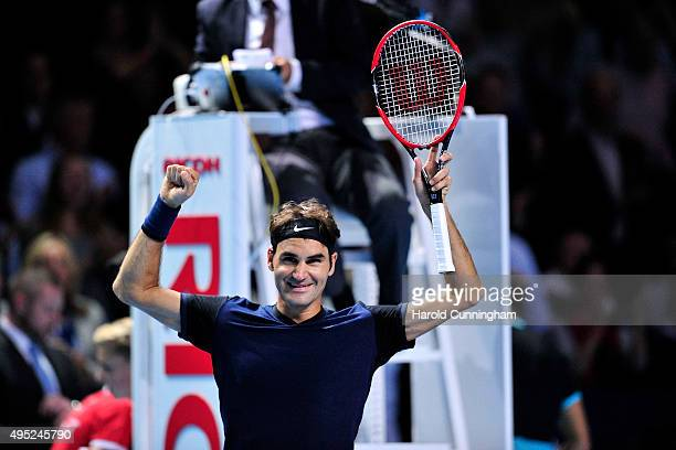 Roger Federer of Switzerland celebrates his victory during the Swiss Indoors ATP 500 Final against Rafael Nadal of Spain at St Jakobshalle on...