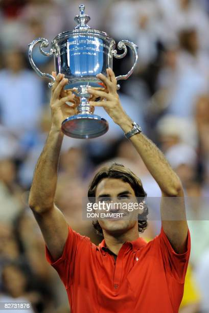 Roger Federer of Switzerland celebrates his victory over Andy Murray of Great Britain in the men's final at the US Open tennis tournament September 8...
