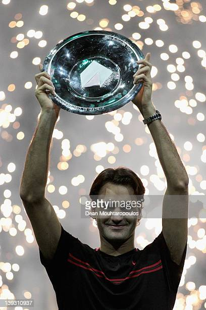 Roger Federer of Switzerland celebrates his victory over Juan Martin Del Porto of Argentina in the Final on day 7 of the ABN AMRO World Tennis...