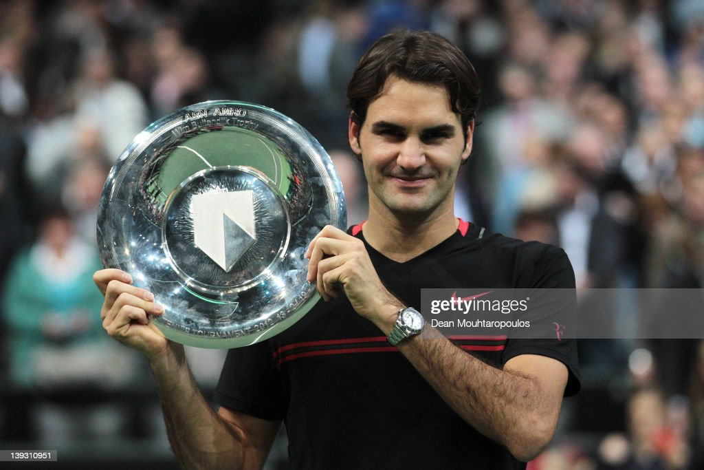 Roger Federer of Switzerland celebrates his victory over Juan Martin Del Porto of Argentina in the Final on day 7 of the ABN AMRO World Tennis Tournament on February 19, 2012 in Rotterdam, Netherlands.
