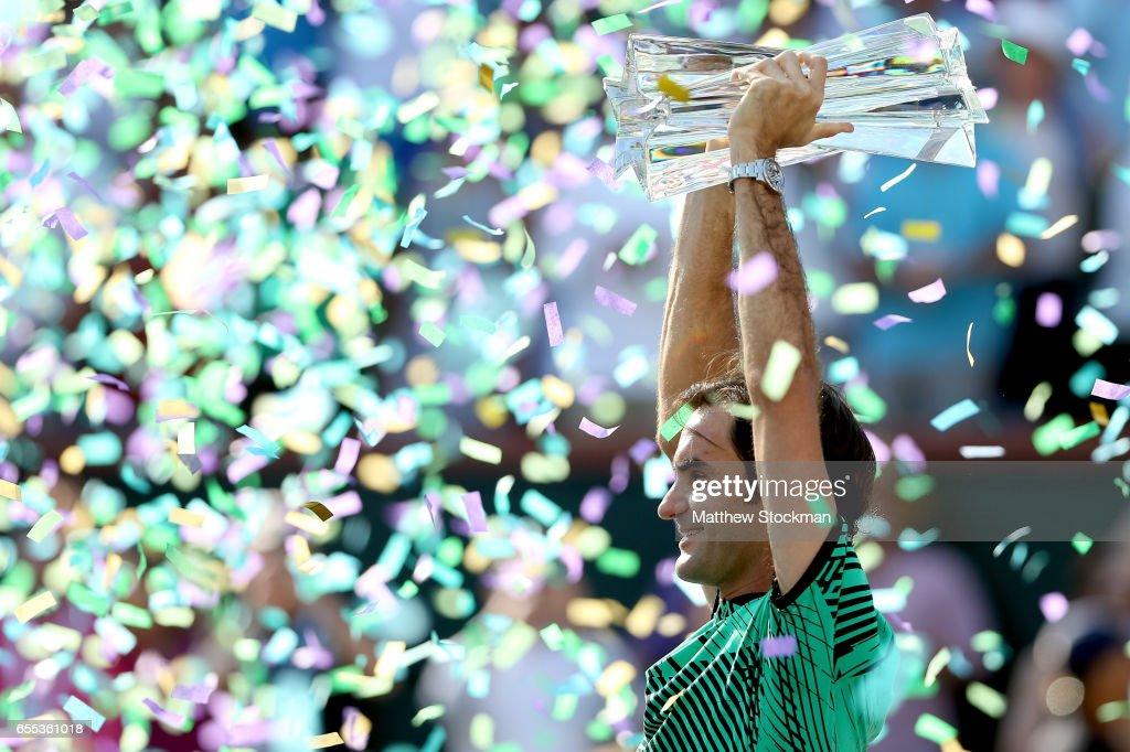 Roger Federer of Switzerland celebrates his win over Stan Wawrinka of Switzerland during the men's final of the BNP Paribas Open at the Indian Wells Tennis Garden on March 19, 2017 in Indian Wells, California.