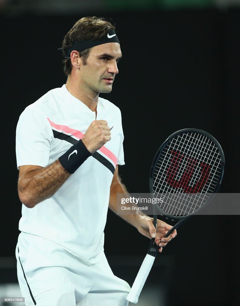 Roger Federer of Switzerland celebrates match point after his second round match against Jan-Lennard Struff of Germany on day four of the 2018 Australian Open at Melbourne Park on January 18, 2018 in Melbourne, Australia.