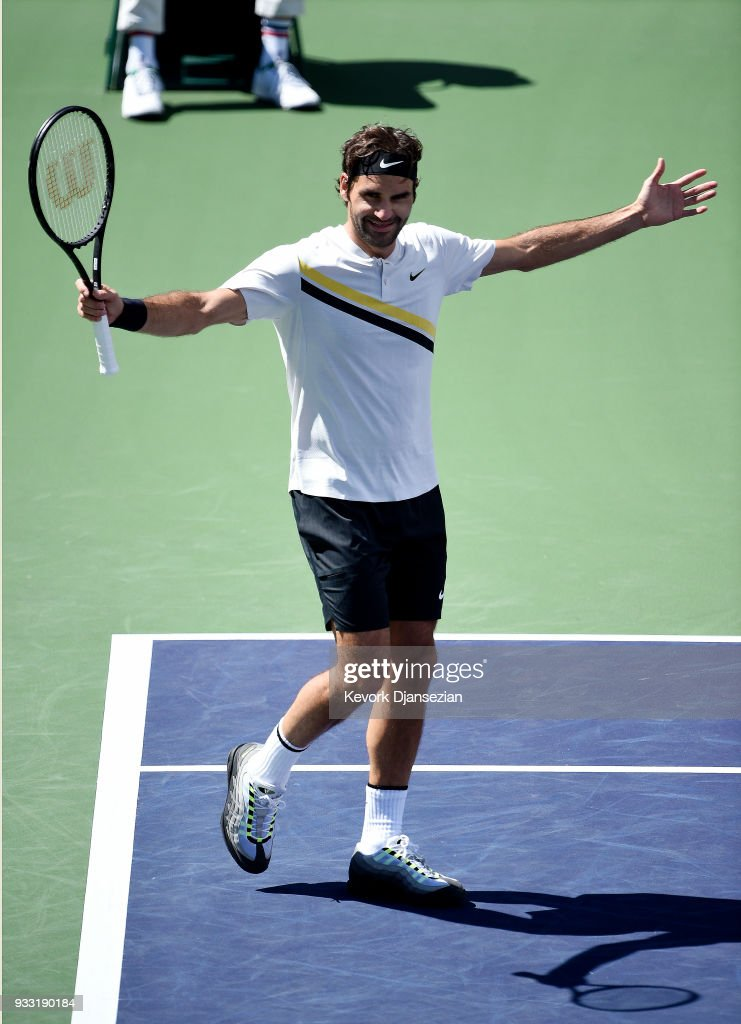 Roger Federer of Switzerland celebrates match point against Borna Coric of Croatia during the semifinal match on Day 13 of the BNP Paribas Open on March 17, 2018 in Indian Wells, California.