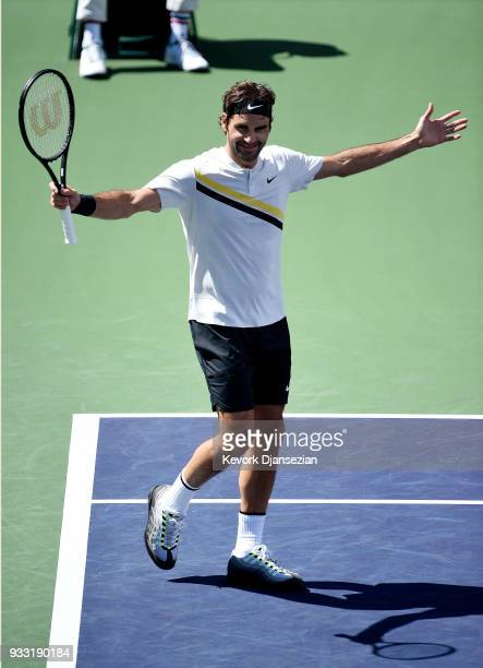 Roger Federer of Switzerland celebrates match point against Borna Coric of Croatia during the semifinal match on Day 13 of the BNP Paribas Open on...