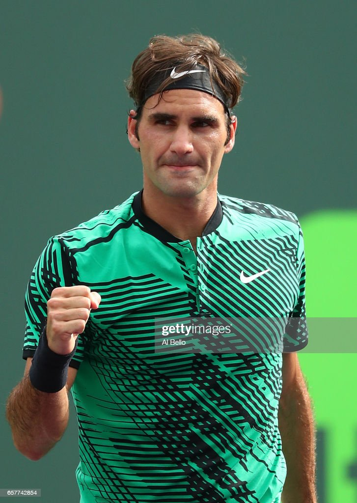 Roger Federer of Switzerland celebrates match point against Frances Tiafoe during day 6 of the Miami Open at Crandon Park Tennis Center on March 25, 2017 in Key Biscayne, Florida.