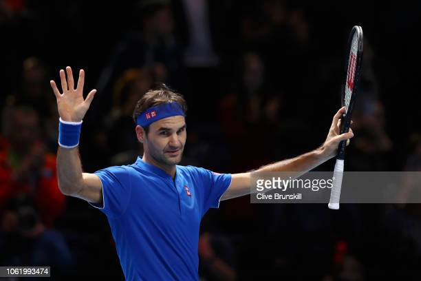 Roger Federer of Switzerland celebrates match point during his round robin match against Kevin Anderson of South Africa during Day Five of the Nitto...