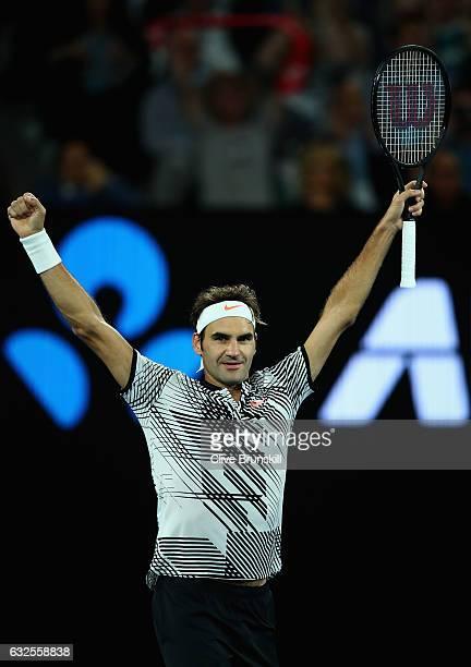 Roger Federer of Switzerland celebrates match point in his quarterfinal match against Mischa Zverev of Germanyon day nine of the 2017 Australian Open...