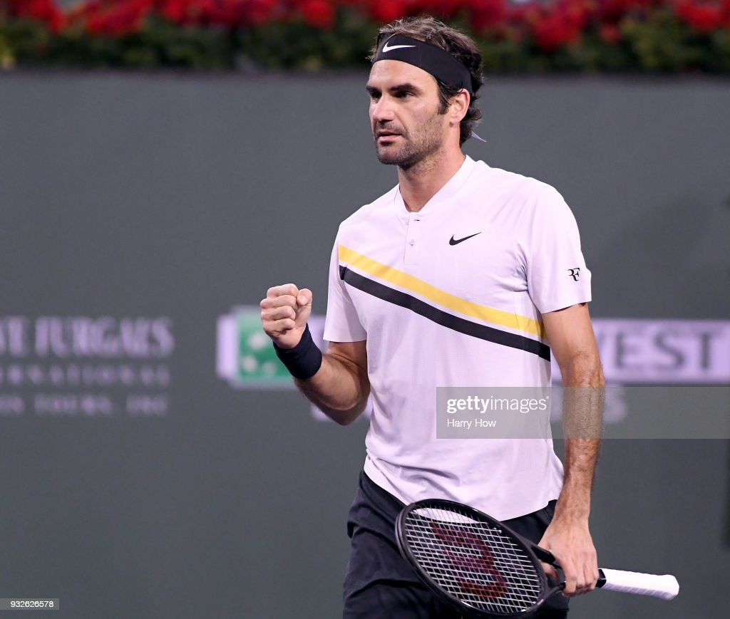 Roger Federer of Switzerland celebrates match point over Hyeon Chung of South Korea during the BNP Paribas Open at the Indian Wells Tennis Garden on March 15, 2018 in Indian Wells, California.
