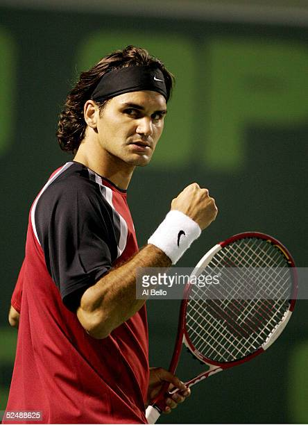 Roger Federer of Switzerland celebrates match point over Mariano Zabaleta of Argentina during the NASDAQ100 Open at the Crandon Park Tennis Center on...