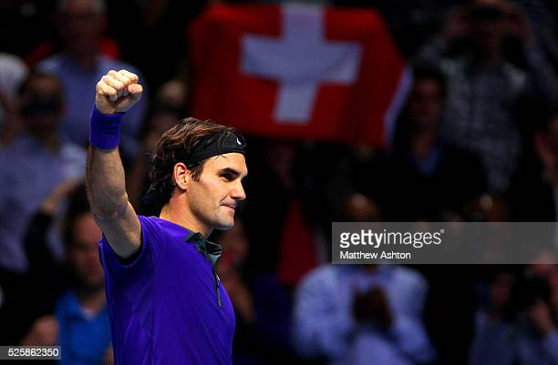 Roger Federer of Switzerland celebrates on match point at the ATP World Tour Finals, O2 Arena, 2012