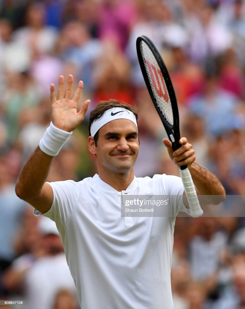 Roger Federer of Switzerland celebrates victory after the Gentlemen's Singles second round match against Dusan Lajovic of Serbia on day four of the Wimbledon Lawn Tennis Championships at the All England Lawn Tennis and Croquet Club on July 6, 2017 in London, England.